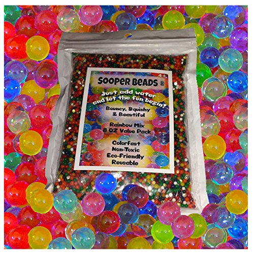 Water Beads, 8 OZ pack (Almost 20000 !!) Sooper Beads Crystal Water Gel Bead [Rainbow Mix] Used For Kids Tactile Toys – SensoryToys, Orbeez refill, Vase Filler, Soil, Plant decoration, Bamboo Plants