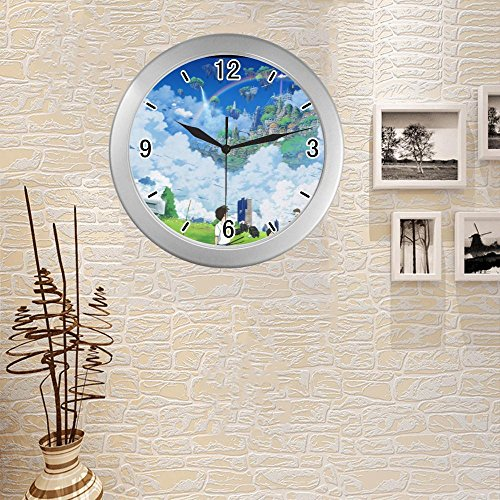 anfGreenqb Landscape anime wallpaper 126 Quartz frame custom Silver Elegant Wall Clock 9.65