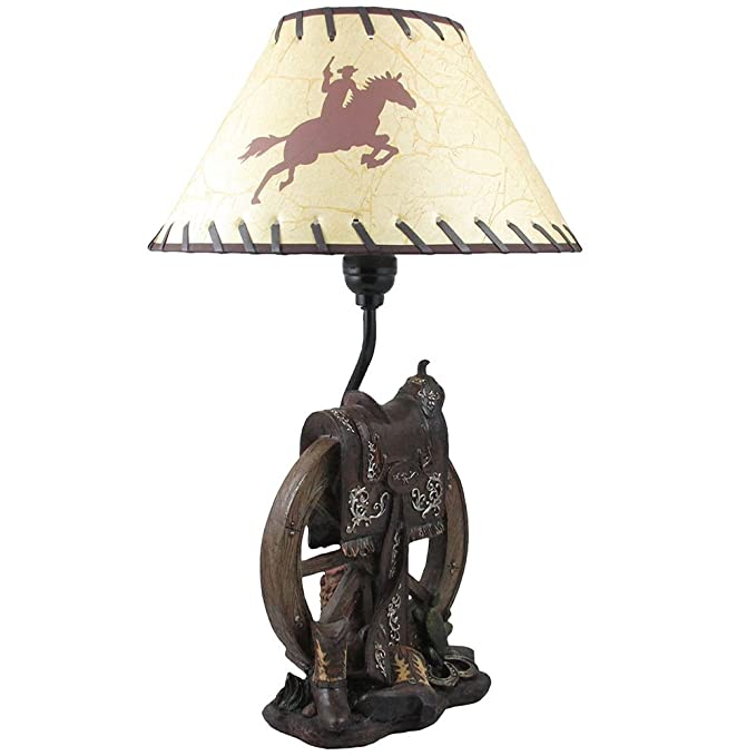 Horse Saddle On Wagon Wheel Desktop Or Table Lamp In Gifts For Cowboys And Western Home Decor Accents Com