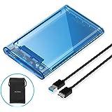 ELUTENG 2.5インチ HDD/SSD 外付けケース USB3.0高速 青い透明 外付けハードディスク ドライブケース UASP対応 SATA USB 変換ボックス 5Gbps