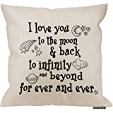 HGOD DESIGNS I Love You Theme Quote I Love You to The Moon and Back Star Moon Earth Cloud Spacecraft White Background…