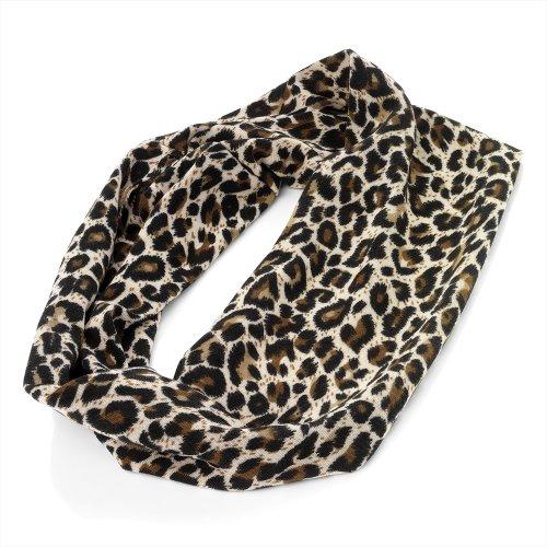 Amber Leopard (Brown Animal Leopard Print Headband Stretch Elasticated Bandeaux 8cm wide)