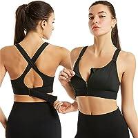 Wireless Supportive Sports Bra,Women's Front Zip Sports Bra