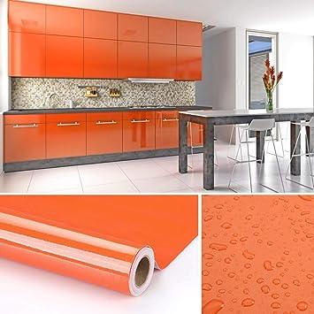 Mobili Da Cucina Arancione.Kinlo Adesivi Carta Per Mobili 0 6m 5m 1 Rotolo Arancione Nessuna Colla Pvc Impermeabile Adesivi Mobili Rinnovato Mobili Da Cucina Autoadesivo Wall