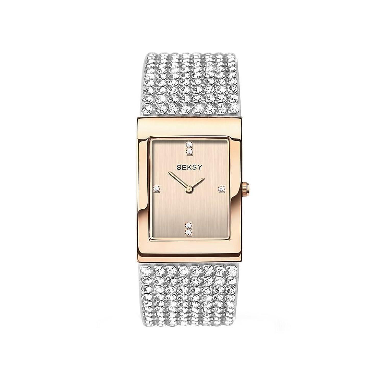 Seksy by Sekonda Krystal Damen Quarz Armbanduhr mit Swarovski-Set Armband und Rose Gold Farbe Zifferblatt 2376