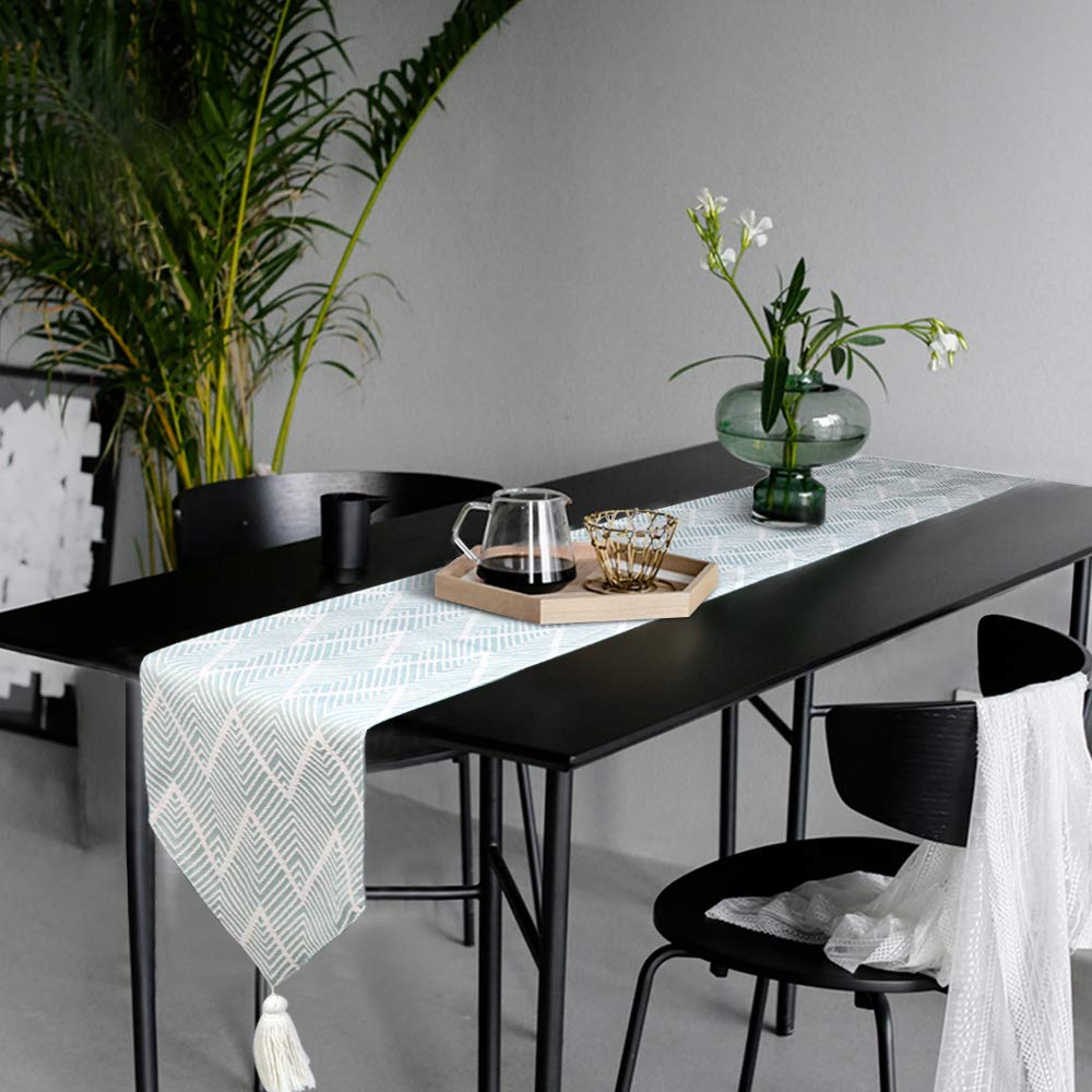 KIMODE Chevron Plastic Fringe Table Runner, Geometric Handmade Woven Cotton Canvas Fabric Decorative Table Runners Minimalist for Dinning Decoration Table Home Decor (14 in x 72 in, Light Green)