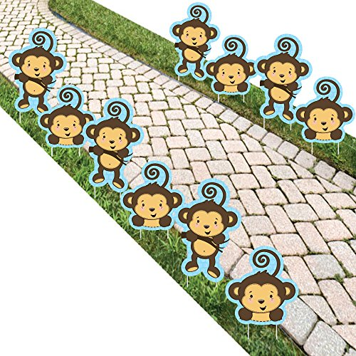 Monkey Boy - Lawn Decorations - Outdoor Baby Shower or Birthday Party Yard Decorations - 10 (Kids Lawn Decoration)
