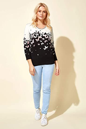 Simple Confortable L/éger Uni Contraste Casual D/écontract/é Pullover Sweater Roman Originals Femme Pull Manches 3//4 Motif Papillons Col Rond