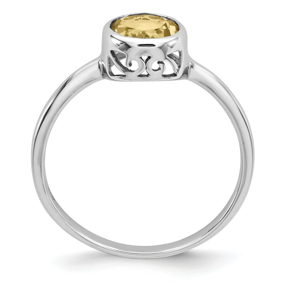 Sterling Silver Polished Citrine Round Ring