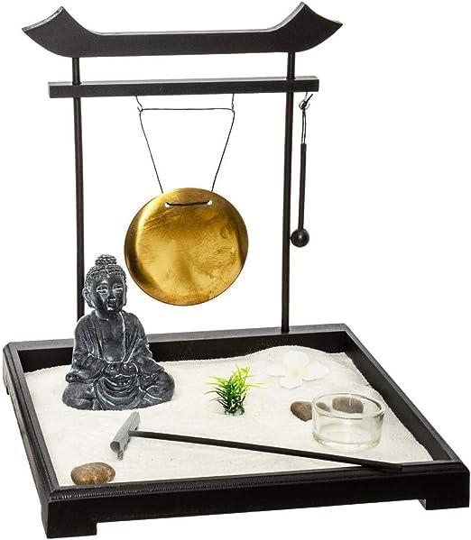 JARDIN ZEN - con bandeja de madera negra, estatua de buda, rastrillo, gongo, etc.: Amazon.es: Hogar