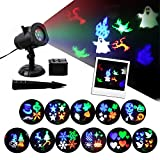 GAXmi Halloween Light Christmas Projector Lights 12 Moving Changeable Patterns LED Spotlight Waterproof Indoor Outdoor Landscape Lighting for Wedding Birthday Valentines Party National Day