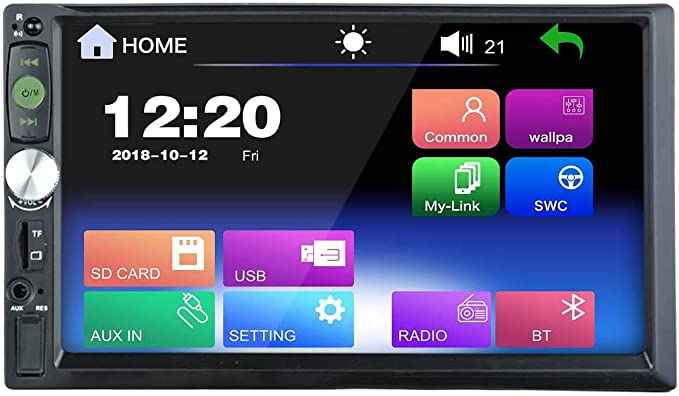 LEXXSON Radio estéreo doble DIN para auto Reproductor de MP3 MP4 MP5 con pantalla táctil HD de 7 pulgadas compatible TF/USB/AUX/FM/Bluetooth/control del volante: Amazon.es: Electrónica