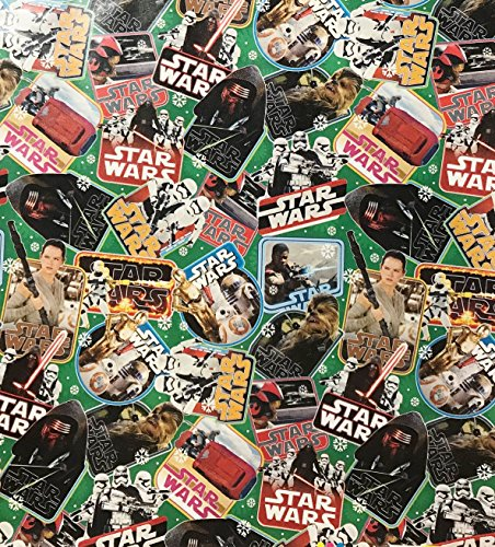 Star Wars Wrapping Paper Gift Wrap - Chewbacca, Storm Troopers, R2D2, C3PO (3.33 Feet Wide -- 40 Square -