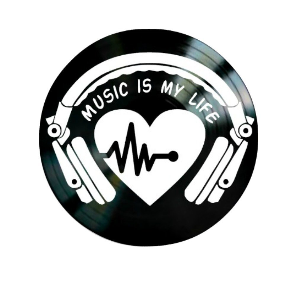 Music is My Life Quote on a Vinyl Record Album Wall Artwork