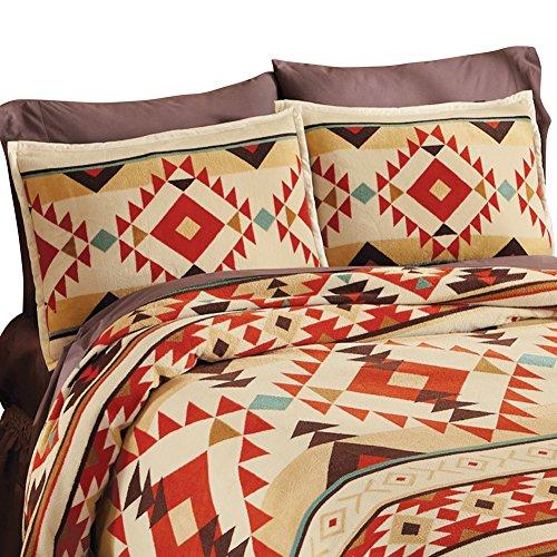 Southwest Aztec Fleece Native American 2 Piece Pillow Sham S