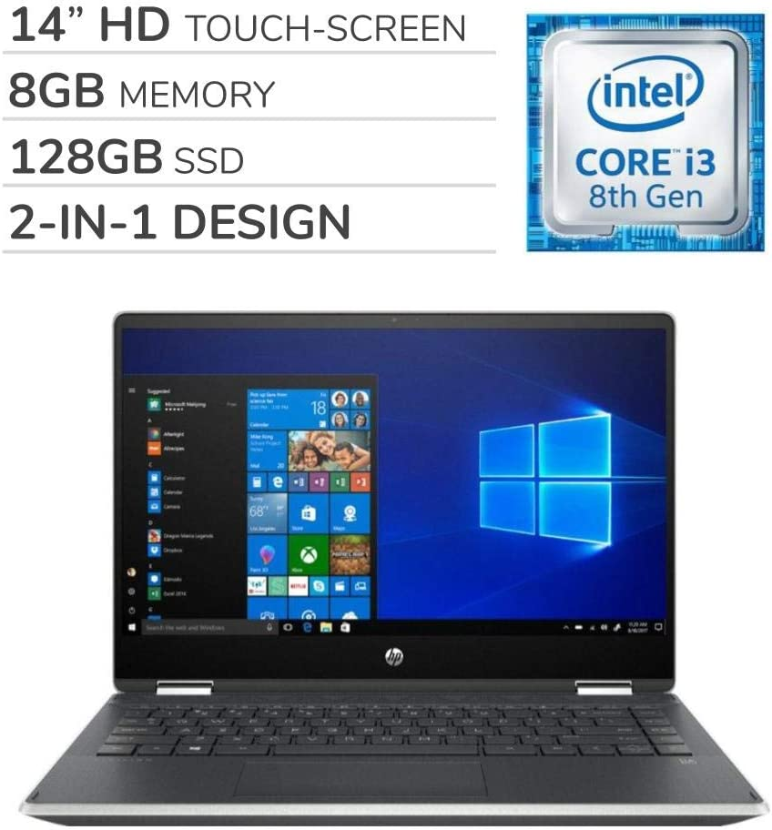 HP - Pavilion x360 2-in-1 2019 Premium 14'' HD Touch-Screen Laptop Notebook Computer, 2-Core Intel i3-8145U 2.1 GHz, 8GB RAM, 128GB SSD, No DVD, Wi-Fi, Bluetooth, Webcam, HDMI, Windows 10 Home S