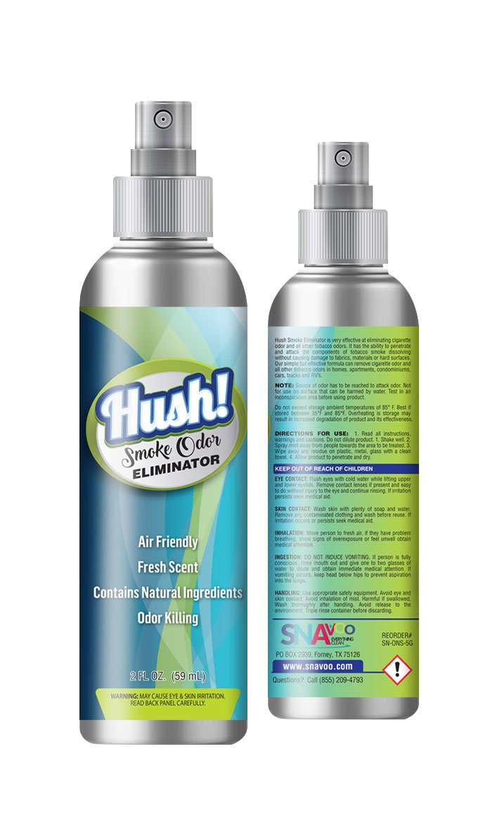 HUSH! SMOKE ELIMINATOR, 2- 4 OZ BOTTLES, TRAVEL SIZE, WORKS ON TOBACCO, WEED, POT OR CANNABIS SMOKE ODORS - DORM ROOM, APARTMENT, HOME, CAR, OFFICE