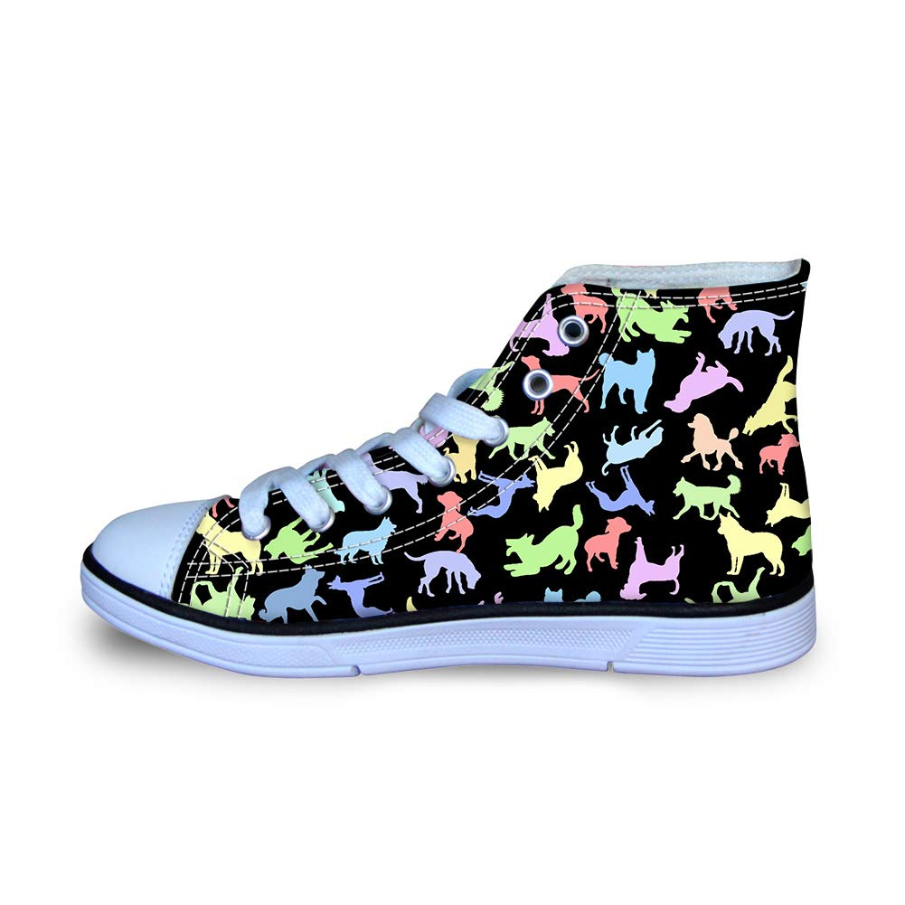 Mumeson Classic Kids High-top Canvas Shoes School Sports Sneakers for Boys Girls Skateboard Shoes Cute Dog Cat Ocean Fish Pattern Size 29-34
