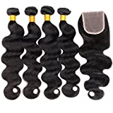 ZILING Brazilian virgin hair body wave with lace closure human hair bundles with closure extensions hair (16 18 20 22 w 16 free part)