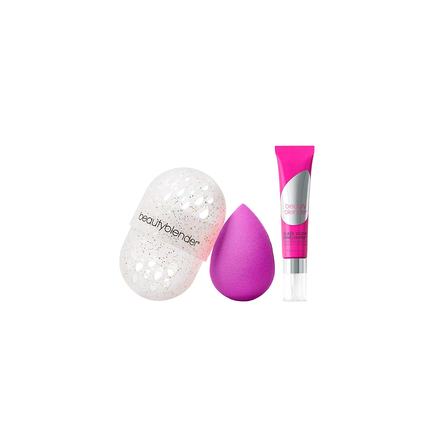 beautyblender THE GLOW UP Beauty Essentials Kit With beautyblender Original Makeup Sponge, Glass Glow Shinelighter, Blender Defender Glitter, Cruelty-Free, Vegan and Made in the USA