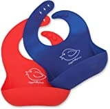 Waterproof Silicone Bib Easily Wipes Clean! Comfortable Soft Baby Bibs Keep Stains Off! Spend Less Time Cleaning after Meals with Babies or Toddlers! Set of 2 Colours (Red/Blue)