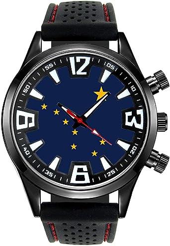 Timest - Bandera de Guadalajara España - Reloj para Hombre con Correa de Silicona Negro Analógico Cuarzo SF532: Timest: Amazon.es: Relojes