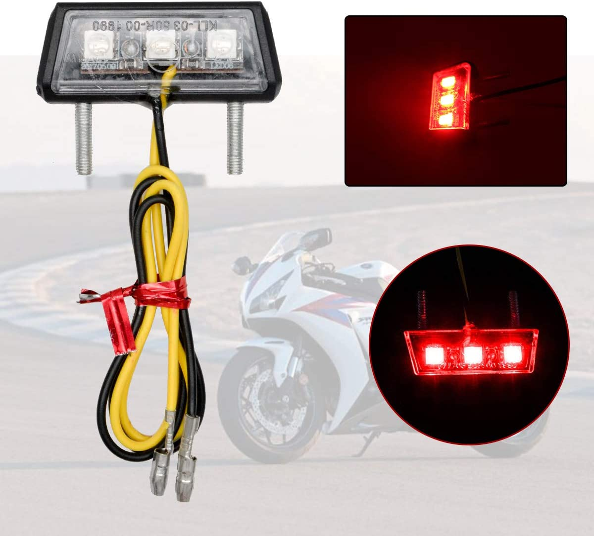 Maso rosso luce per targa con 3 LED per motocicletta luce posteriore