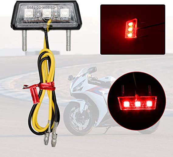 Maso luce per targa con 3 LED per motocicletta luce posteriore rosso