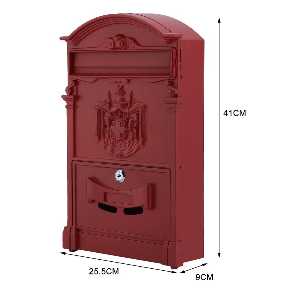 Belovedkai Outdoor Mailbox, Wall Mounted Vintage Mail Box Locking Post Box Secure Letterbox for Home Garden (red) by Belovedkai (Image #9)