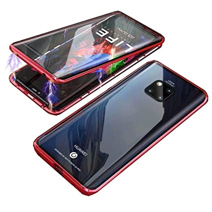 HIKERCLUB Huawei Mate 20 Pro Magnetic Case Full Body Protection Metal Glass Flip Built-in Screen Protector Front and Back 9H Tempered Glass Clear ...