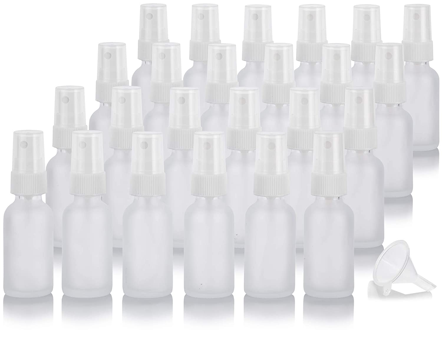 1 oz Frosted Clear Glass Boston Round White Fine Mist Spray Bottle (24 pack) + Funnel for essential oils, aromatherapy, food grade, bpa free