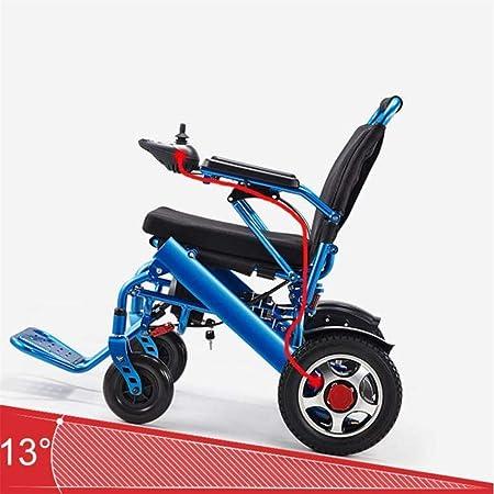 JL-Q Silla de Ruedas eléctrica Plegable Ligera de la aleación de Aluminio Silla Plegable eléctrica Doble protección para la Seguridad Familiar [Nivel ...