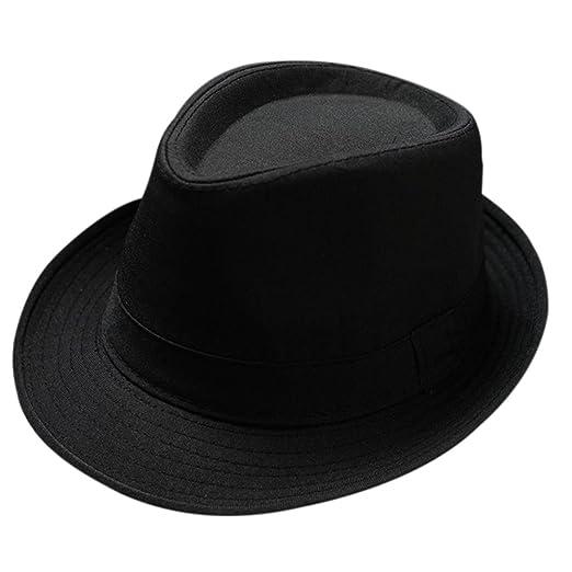 Freedi Men s Fedora Hat Classical Felt Jazz Cap Brim Costume Party Headwear  (Black) d0e5a46288e