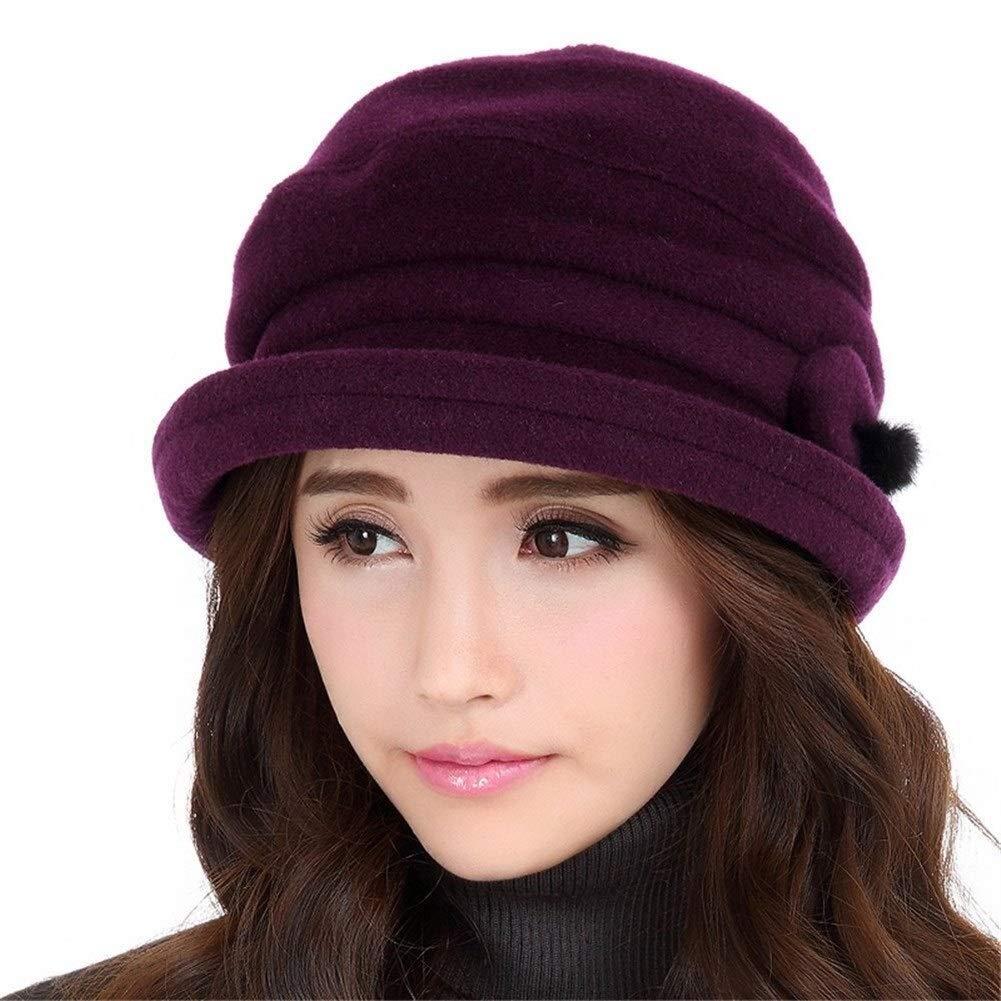 TomgJumgTG Adjustable Crimping Pure Colour Warm Bucket Cap for Women (Color : Affectionate Purple, Size : M (56-58cm))