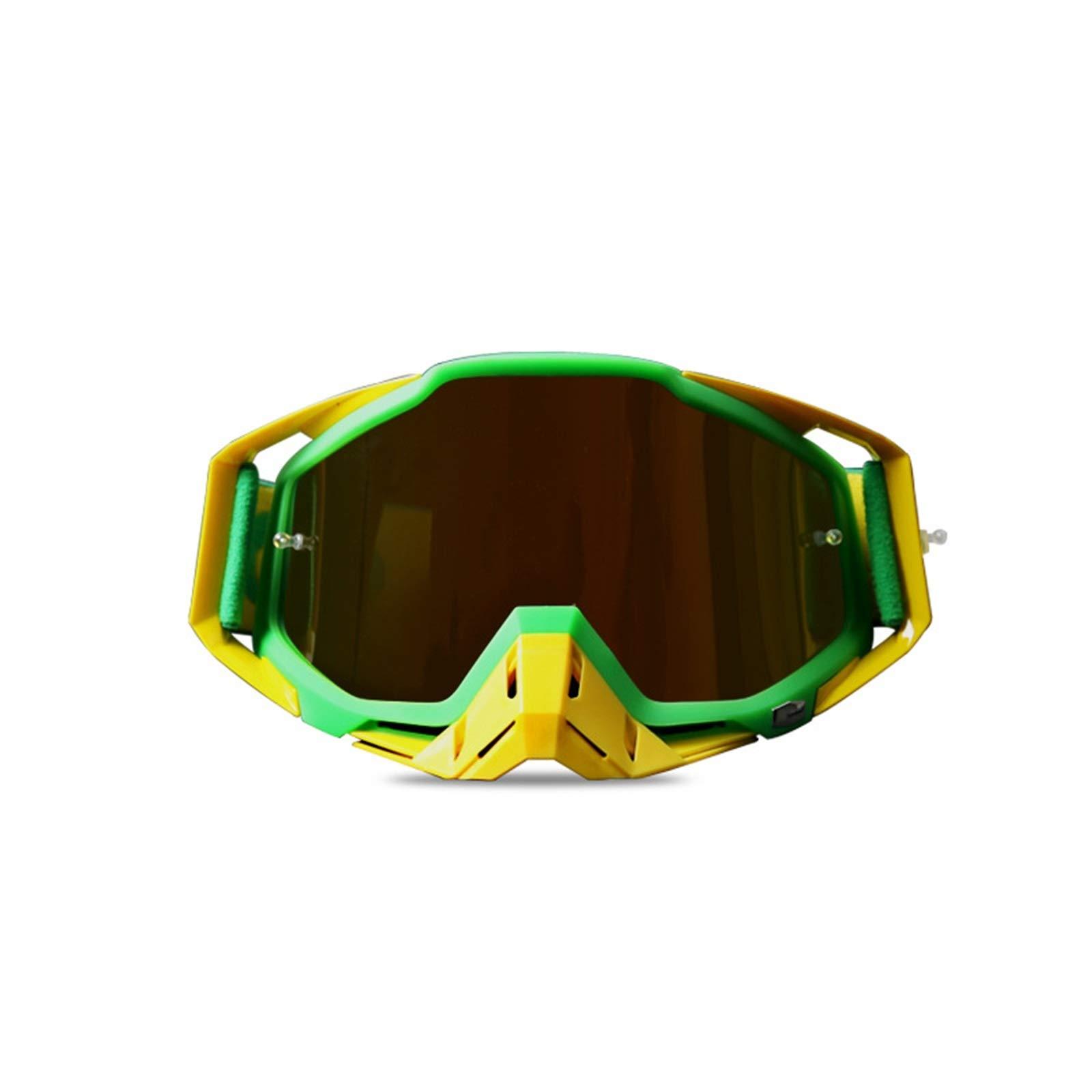Adisaer Cycling Sunglasses Motorcycle Racing Riding Goggles ski Goggles Green Yellow for Adults