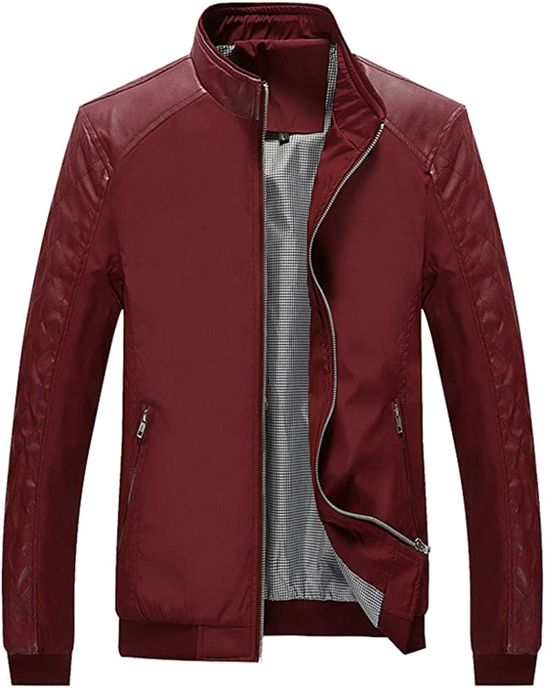 VEZAD Casual Pocket Button Thermal Leather Jacket Fashion Men Autumn Winter Coat