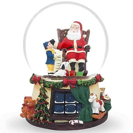 6 Boy And Dog Reading Gift List To Santa Music Snow Globe