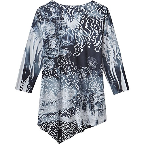 IMPULSE CALIFORNIA Women's Tunic Top - Black & White Floral With Appliqued Roses Corsage - 1X