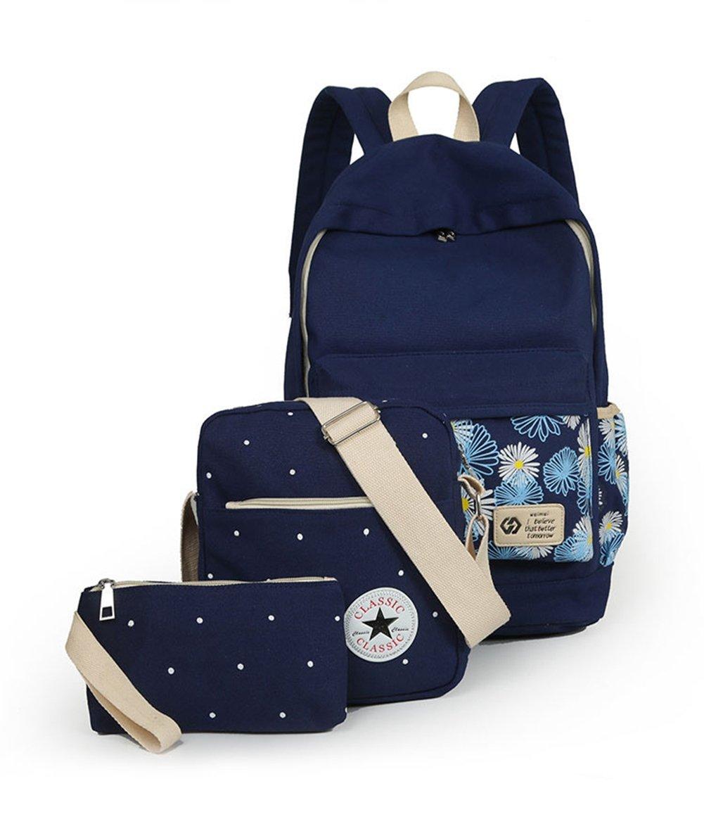 Zehui Fashion Chrysanthemum Women bags Backpack Girl School Fashion Shoulder Bag Rucksack Canvas Travel Bags Green Navy Blue