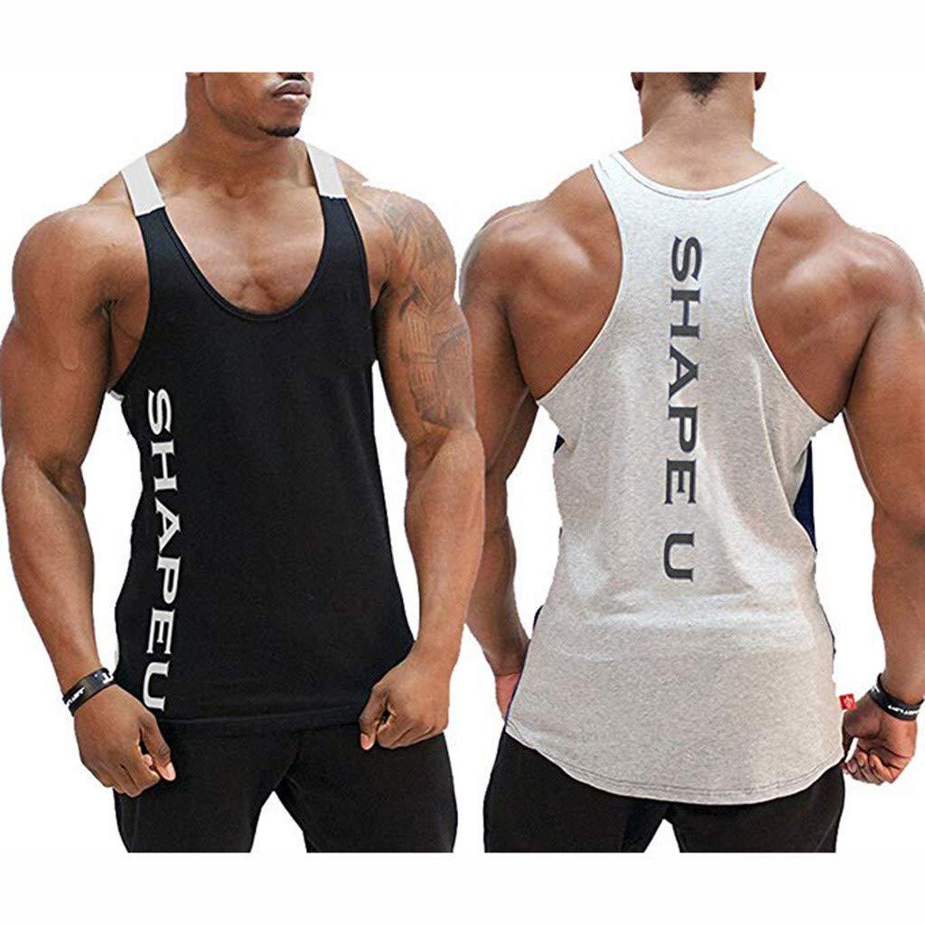 TOOPOOT Sports Vest for Men Mens Sleeveless Tank Top Tee Shirt Bodybuilding Sport Fitness Vest