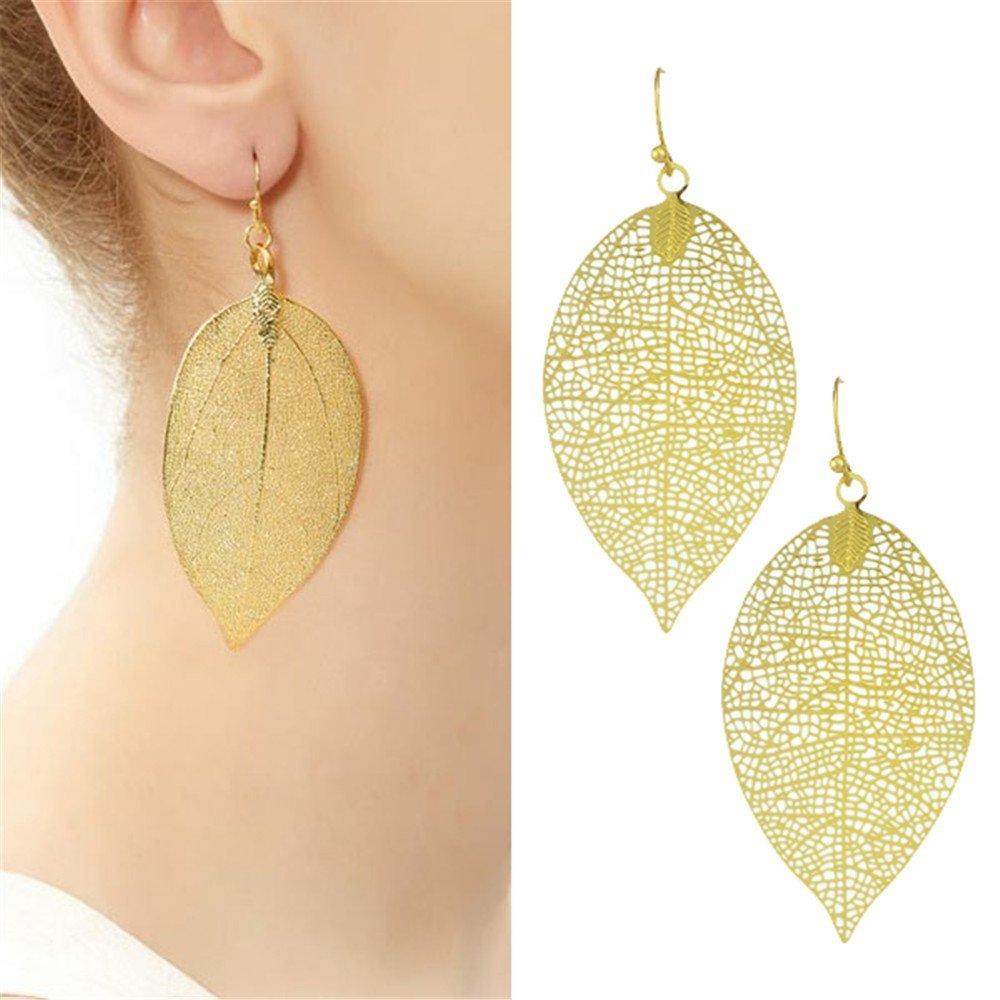 Feelontop® Fashion Gold Plated Leaf Shape Drop Dangle Earrings with Jewelry Pouch FJ-ER-6002