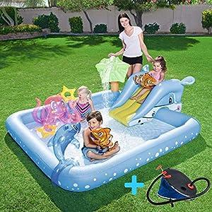 FLYTYSD Piscina Inflable para Bebés, Hinchable Infantil con Toldo Y Sombrilla, Splash Pool para Niños, Aspersor De Juego para Jardín/Piscina/Playa