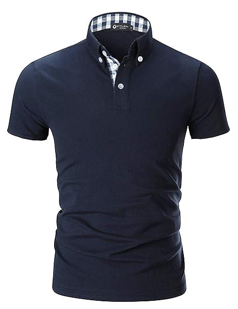 a9b0c234847 STTLZMC Polo para Hombre de Manga Corta Casual Trabajar 100% Puro Algodón  Slim Camisas Tennis  Amazon.es  Ropa y accesorios