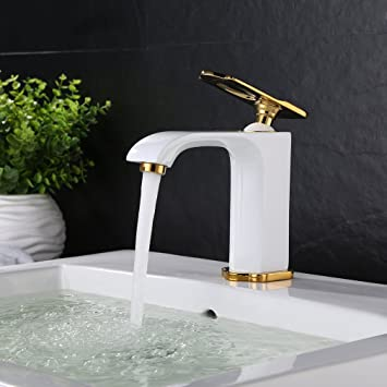 Badezimmer armatur  BONADE® Waschtischarmatur weiß Einhebelmischer Waschbecken ...