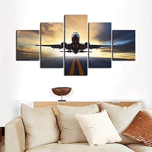 Tkuri Cartel para la Sala de Estar Moderno 5 Panel Air Plane ...