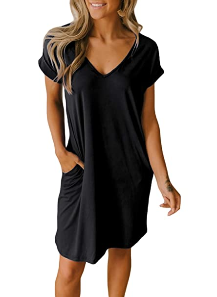 becc33eb30ea3 HOTAPEI Tunic Shift T Shirt Dresses for Women Summer Casual Loose V-Neck  Short Cuffed