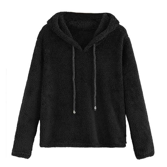 ... sólido Encapuchado suéter Encapuchado Cuello Redondo Camisa de Entrenamiento Blusa Tops Chaqueta Sudadera con Capucha: Amazon.es: Ropa y accesorios