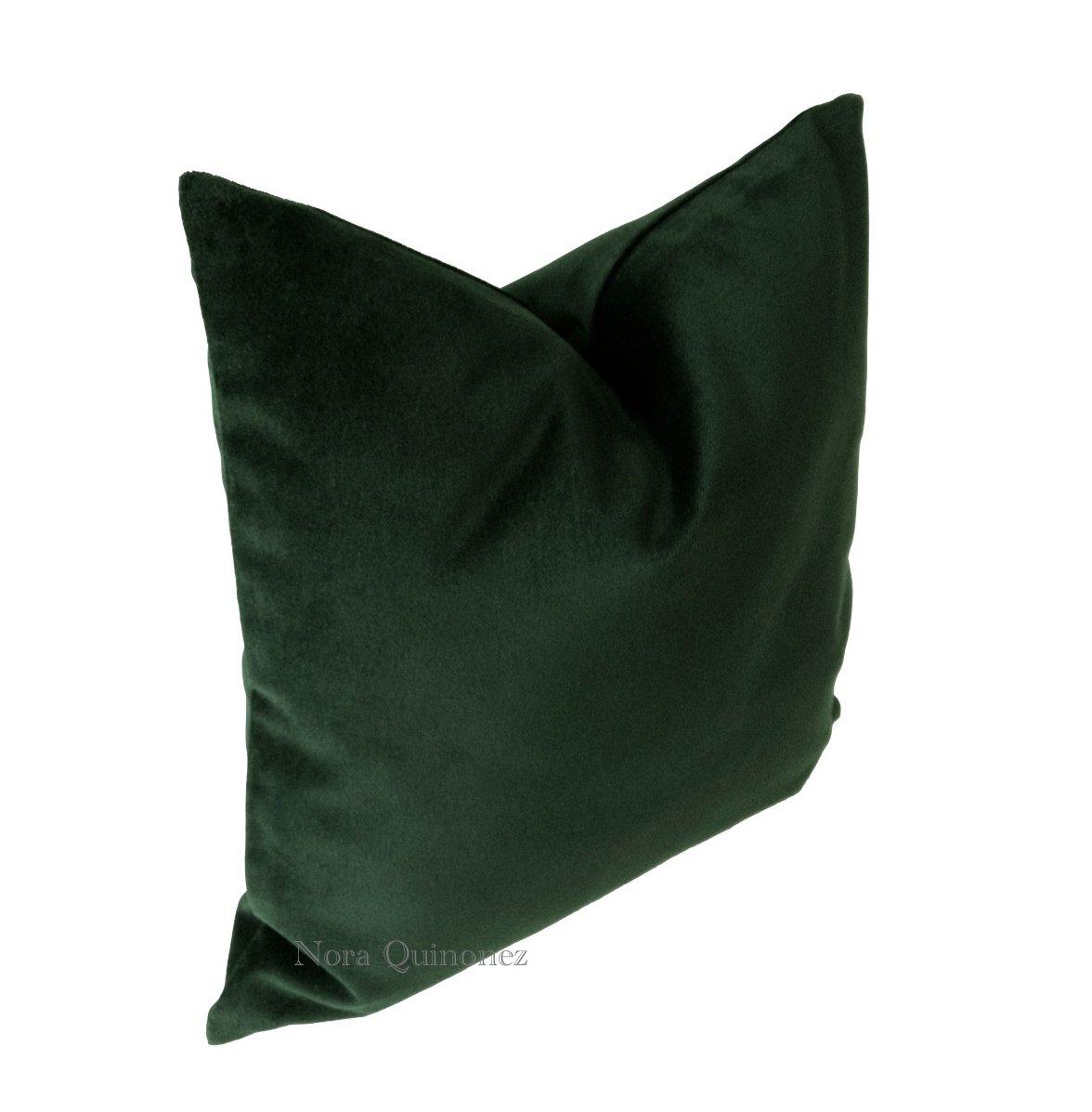 Amazon.com: Hunter Green Cotton Velvet Decorative Throw Pillow ...