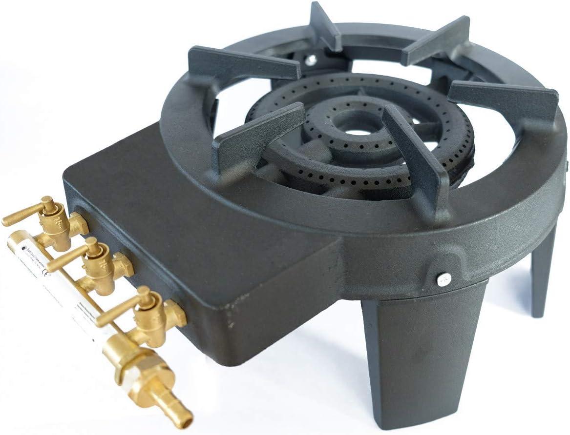 Vulcan 3 - Hornillo de gas portátil de hierro fundido, 4 pies, 9 kW, ajuste de la llama con 3 llaves, gran superficie de cocción, muy resistente y ...