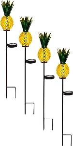 Solar Lighted Pineapple Garden Stake,Outdoor Solar Pathway Lights Waterproof Solar Landscape Lights for Garden, Path, Yard, Patio, Driveway, Walkway, Lawn - 4 Pack